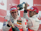 2007 F1 GP Podium Britain with Alonso & Hamilton