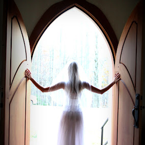 Thinking About It... by Freda Nichols - Wedding Bride ( doors, warm, silhouette, waiting, fall, bride, , Wedding, Weddings, Marriage )