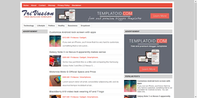 Trivusion blogger template responsif ads ready simple