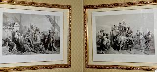 Пара гравюр середины 19-го века. Размер гравюры 52/34 см. 1900 евро.