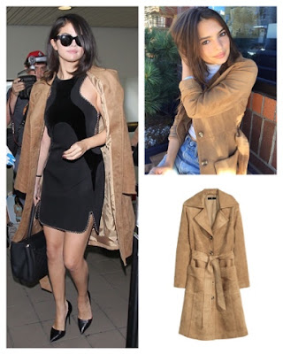 Selena Gomez and Emily Ratajkowski in H&M Camel Faux Suede Coat