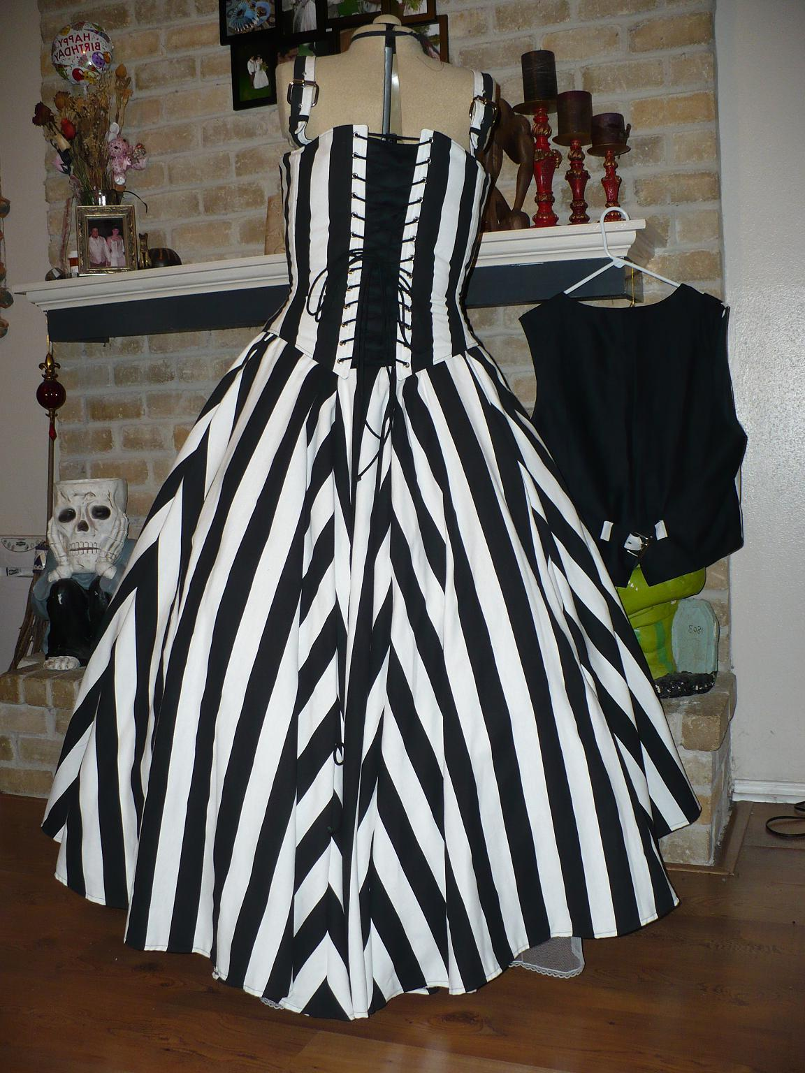 striped wedding dress
