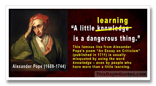 A little learning is a dangerous thing essay twain essay