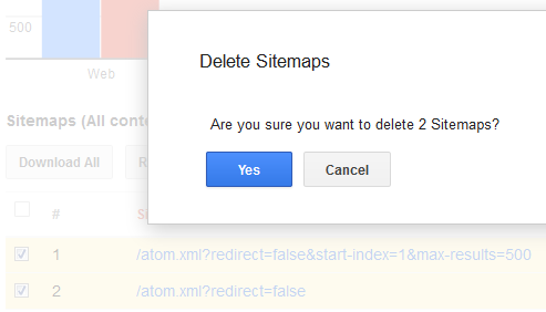 delete sitemaps