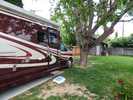 Motorhome in backyard