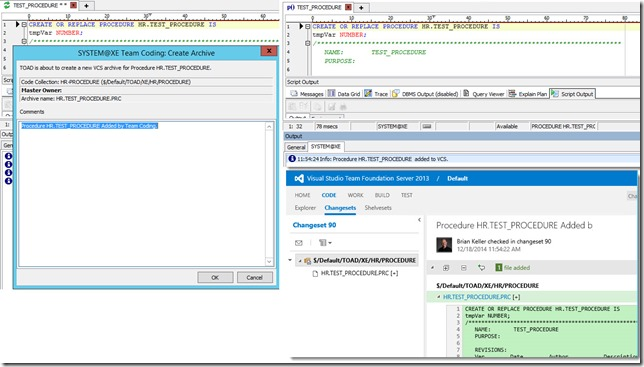 5 - Toad for Oracle 12.6 and TFS 2013 - Associating Work Items with Changesets - Automatically Adding Objects at Creation