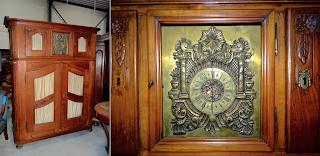 Буфет с часами. 19-й век. Четыре дверки, встроенные часы.
