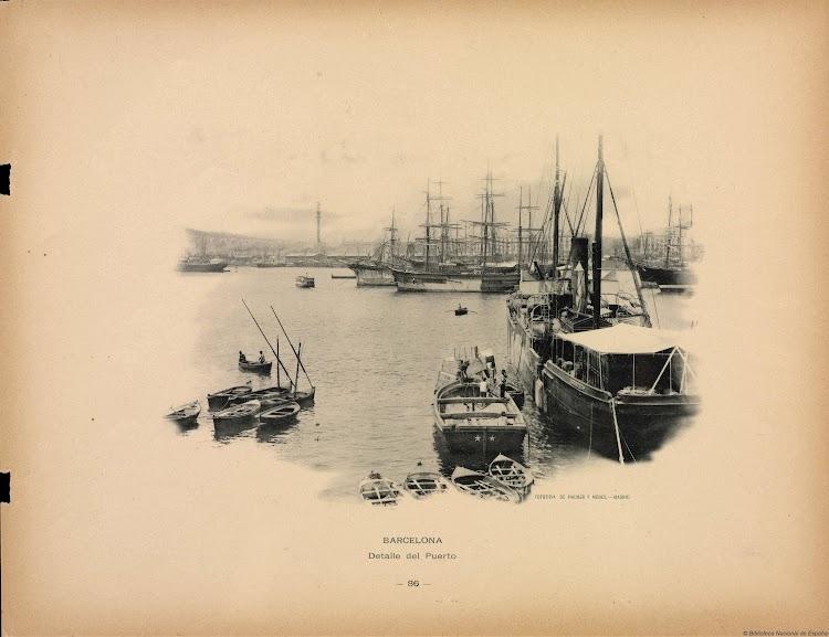Vapor MARIA en el puerto de Barcelona. Año 1893. Foto Hauser y menet. Biblioteca Nacional de España.jpg