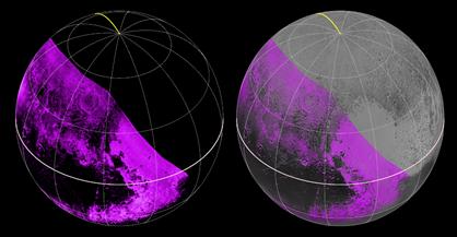 distribuição de metano na superfície de Plutão