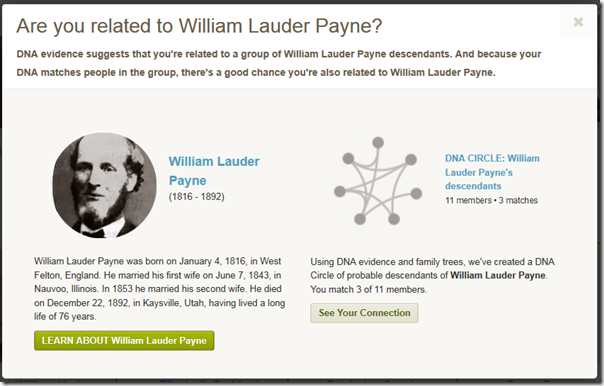 Popup of the New Ancestor Discovery for William Lauder Payne