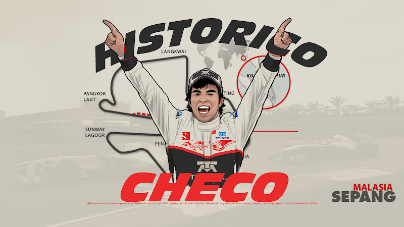 Серхио Перес поднимается на подиум на трассе Куала-Лумпур на Гран-при Малайзии 2012 - иллюстрация akyanyme