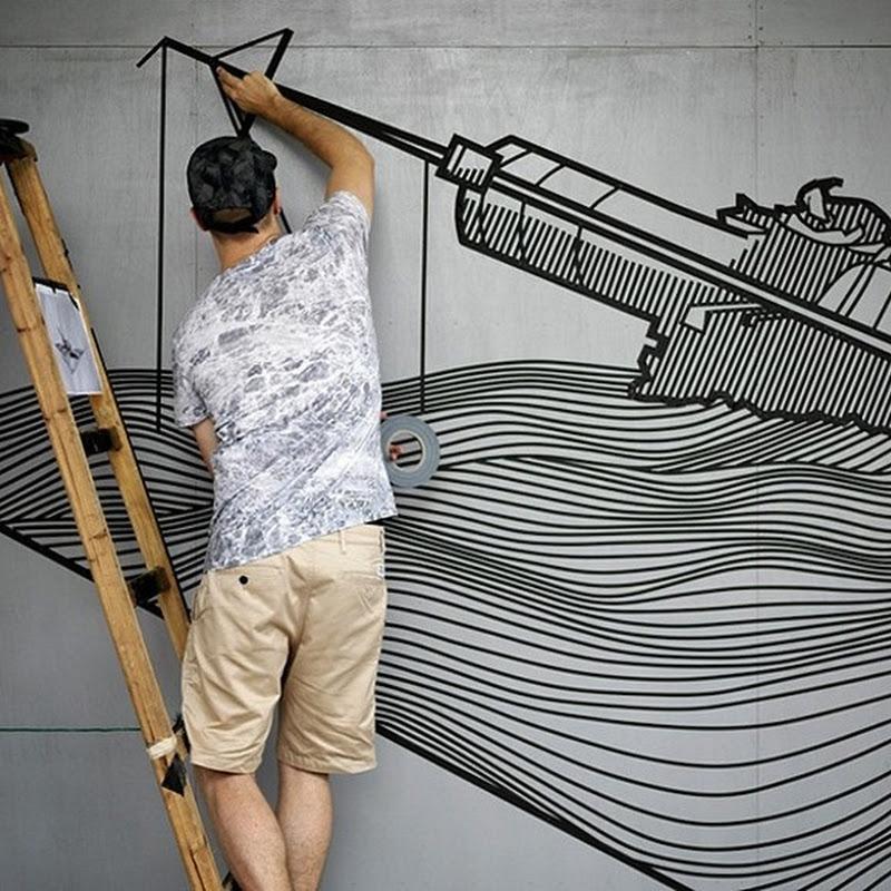 Adhesive Tape Street Art by Buff Diss
