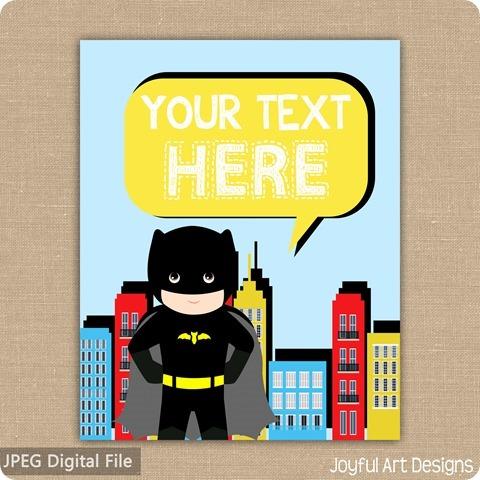 ETSY Listing superhero batman text