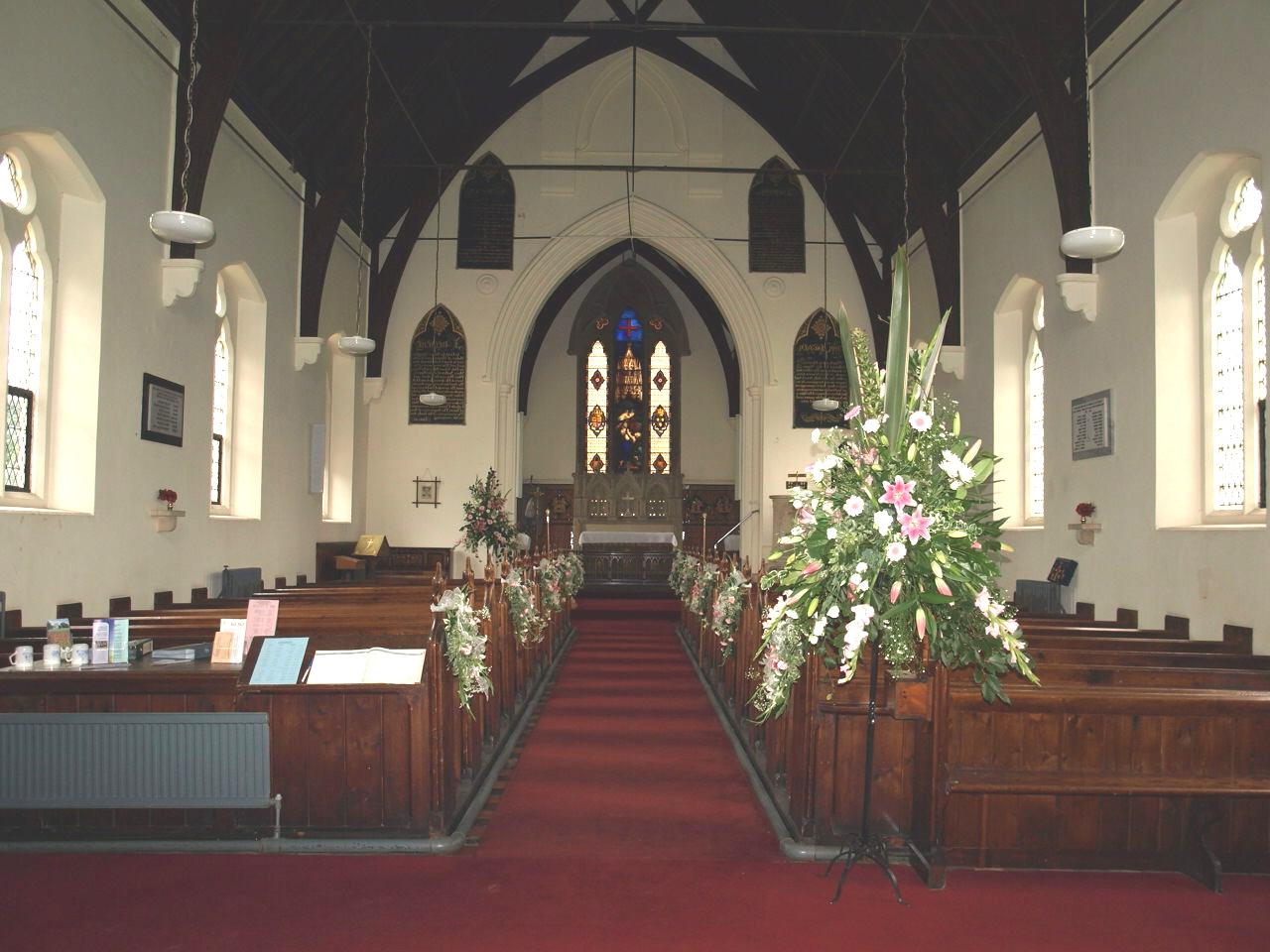 nave decorated for wedding