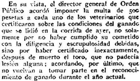 1922-06-19 (p. La Correspondencia) Multas a los veterinarios