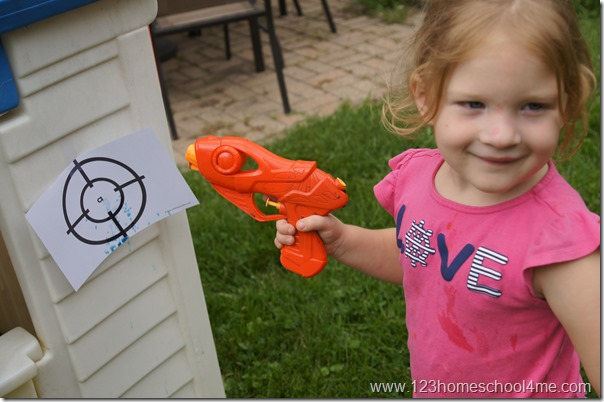 outdoor paintgun alphabet activity for preschool and kindergarten