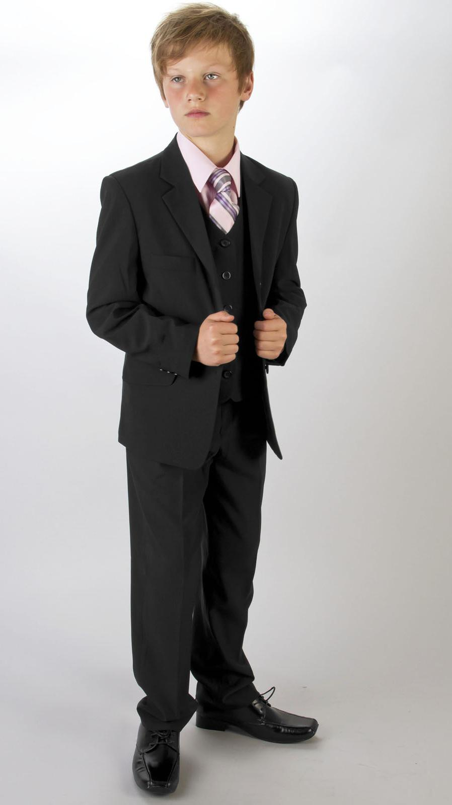 Boys black wedding prom suit