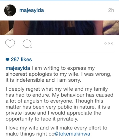 Maje Ayida Publicly Apologizes To His Wife Toke Makinwa on Instagram Over Infidelity & Baby Drama Issues 2