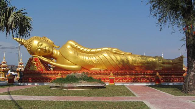 A reclining Buddha.