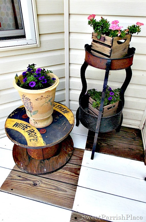 Vintage spool and planter2