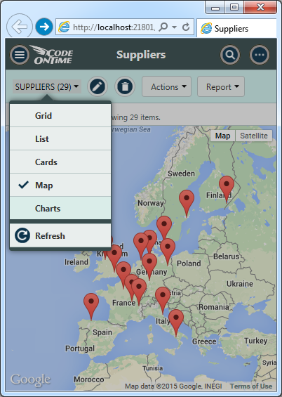 Map view of suppliers in the app created with Code On Time.