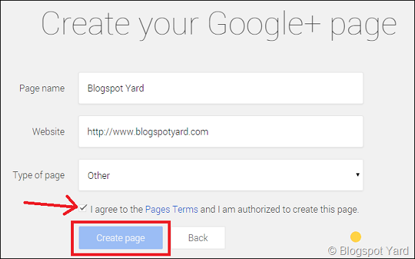 create your google plus page