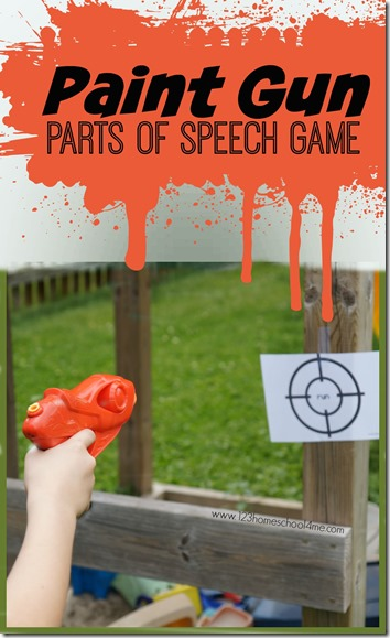 Paint Gun Parts of Speech Kids Activity - This is such a fun summer learning  activity to help kindergarten, first grade, second grade, 3rd grade, and 4th grade kid practice identifying noun, verb, adverb, adjective, adverbs. Perfect summer activity for kids!