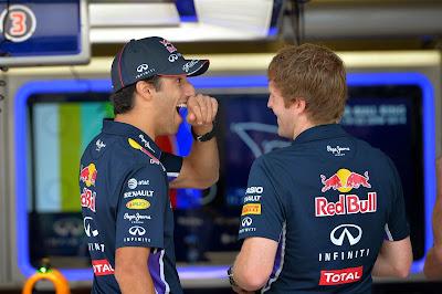 зевающий и улыбающийся Даниэль Риккардо на Гран-при Австрии 2014