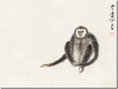 张大千 长臂猴