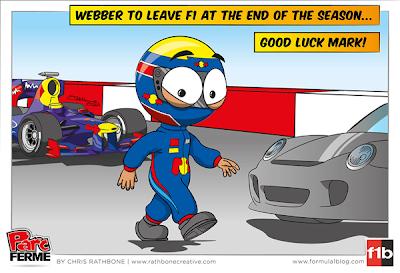 Марк Уэббер покидает Red Bull в конце сезона - комикс Chris Rathbone