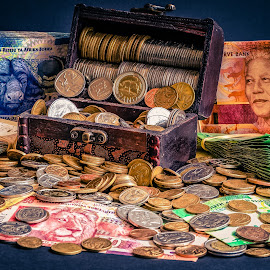 Money Honey by Andre Oelofse - Artistic Objects Business Objects ( wood, coins, bank notes, paper, treasure, silver, money, notes, currensies, currency,  )