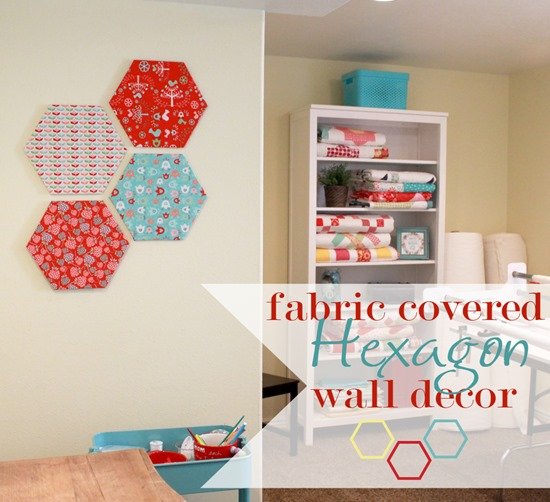 Fabric Covered Wall Art : A bright corner fabric covered hexagon wall decor
