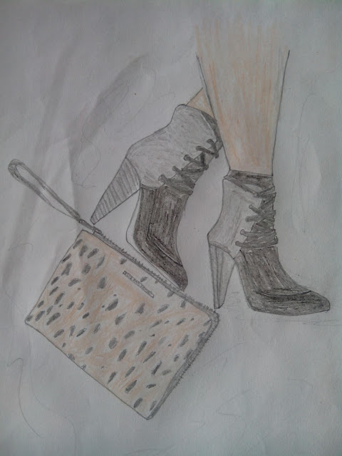 Booties And Clutch Illustration