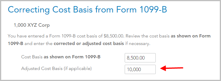 """Now check the box for """"The Form 1099-B shows an incorrect cost basis ..."""