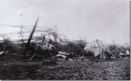 Wreck of L57 at Jueterbog - October 8, 1917 (cropped)