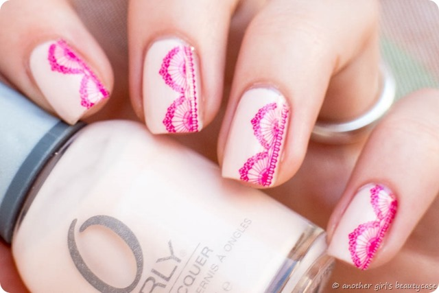 Ready Set Pooolish Lace Spitze Water Decals Orly Pink Kiss the bride nailart design nail art-4