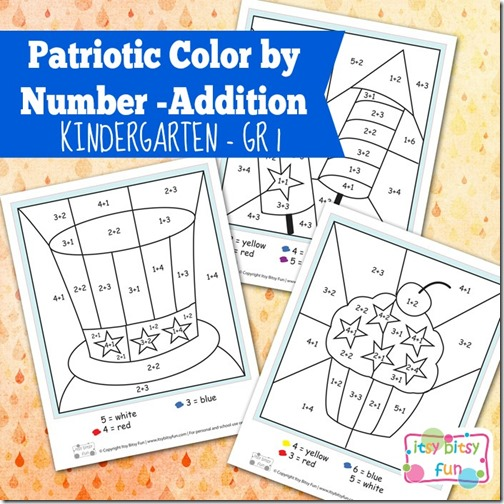 FREE Patriotic Color by Addition Math Worksheets – Color by Addition Worksheets Free