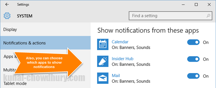 Show or Hide notifications from specific apps in Windows 10 (www.kunal-chowdhury.com)