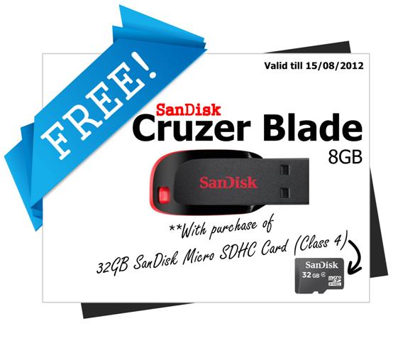 32GB SanDisk Micro SDHC Card + FREE 8GB Cruzer Blade