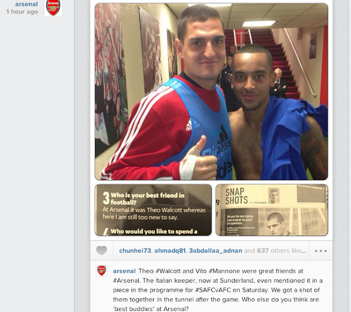 Screen+Shot+2013 09 16+at+12.19.49 Arsenal post Instagram picture of best buddies Vito Mannone & Theo Walcott
