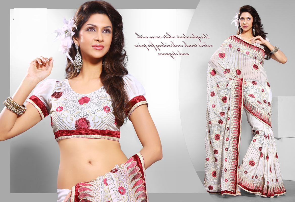 White Color Bollywood Sarees