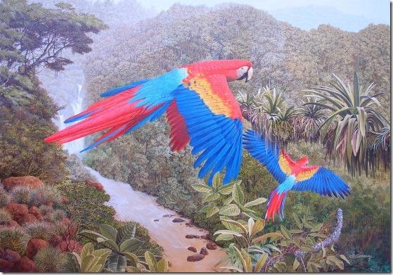 guacamayos bandera - Oscar Correa -ENKAUSTIKOS