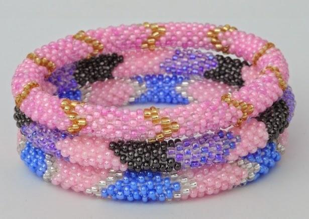 Assorted pink bracelets