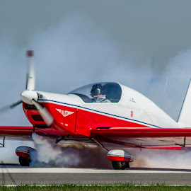 Furious by Alin Lucian Dumitrescu - Transportation Airplanes ( red, plane, moment, airplane, white, transportation, smoke )
