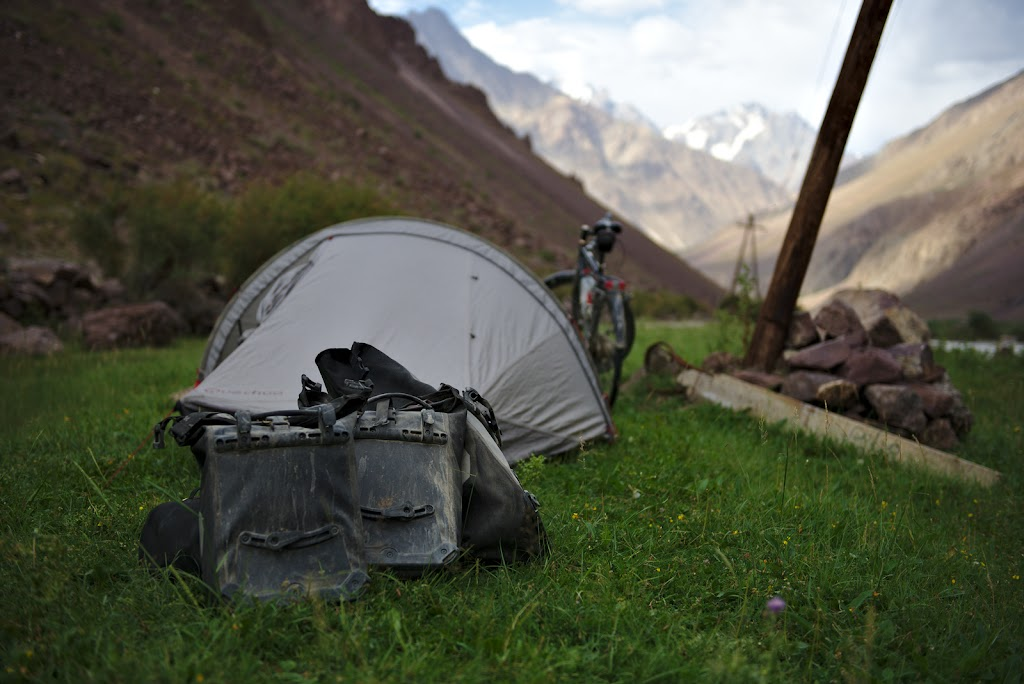 The dust and sand gather from the Bartang during the last evening spent in the valley, once again in a grassy camping spot.