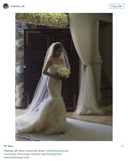Paul-Celestine wedding - Toni in Vera Wang