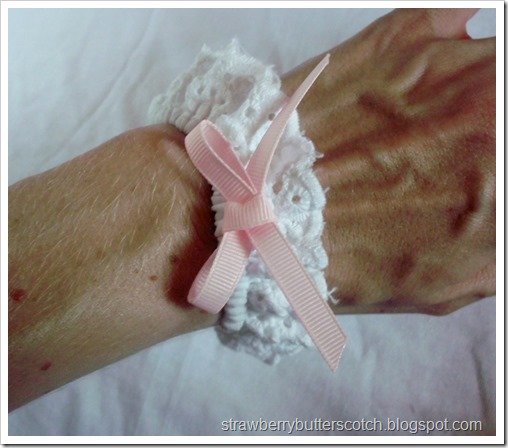 White Lace Wrist Cuff with Pink Ribbon Bow
