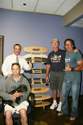 Brad, Brian and Bruce with his dog Ringo with David Hackett (Right) with the first boards of our newly re-released line