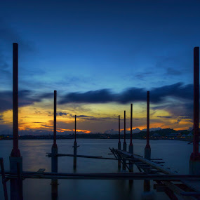 Our life is like a bridge by Mohamad Sa'at Haji Mokim - Landscapes Waterscapes ( water, sky, blue hour, sunset, bridge )