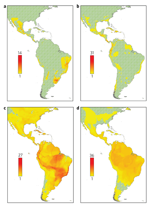 Geographic distribution of threatened species. a–d, Number of threatened species (IUCN Red List Categories Vulnerable, Endangered and Critically Endangered) of cacti (a), amphibians (b), birds (c) and mammals (d) (see Methods). Graphic: Goettsch, et al., 2015 / Nature Plants